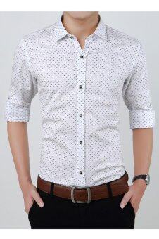 Business Men Long Sleeve Purified Cotton Shirt SlimVentilation Polka Dot Shirt-White - intl