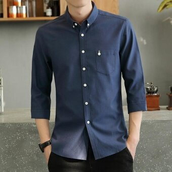 Harga Casual or Bussiness Plain Color Lapel Collar 3/4 Sleeve ButtonClosured Shirt with Pocket for Men(Dark Blue) - intl