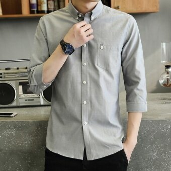 Harga Casual or Bussiness Plain Color Lapel Collar 3/4 Sleeve ButtonClosured Shirt with Pocket for Men(Grey) - intl