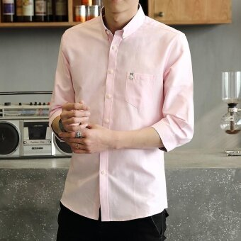 Harga Casual or Bussiness Plain Color Lapel Collar 3/4 Sleeve ButtonClosured Shirt with Pocket for Men(Pink) - intl