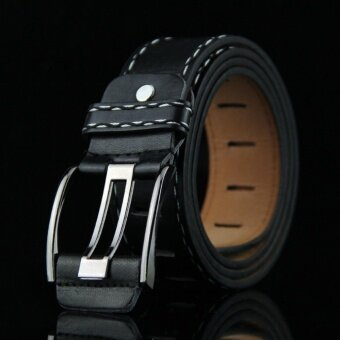 Classic Retro Style Men Belts Strap Fashion PU Leather Alloy Pin Buckle Belts Creative Men Women Belts Black - intl