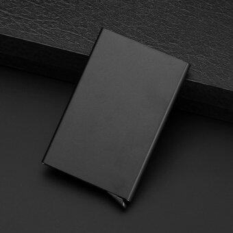 Credit Card Holder Portable Unisex Wallet Business card case SmoothStainless Aluminum Alloy Case - Black - intl
