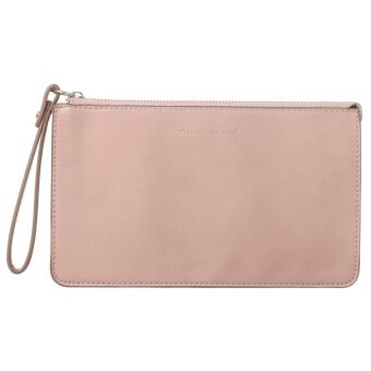 DAVIDJONES Women's Genuine Leather Crossbody Wristlet Clutch with Wrist Strap