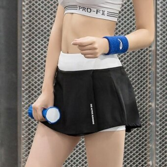 Harga Fake Two Piece Women Workout Sports Running Yoga Shorts Skirt GymFitness Shorts Pants with Zipper Pockets - intl