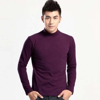 Fashion Men's Autumn Winter High-neck Solid Color Pullover Sweater(Purple) - intl