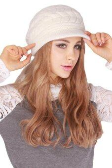 Hang-Qiao Warm Women Knitted Beret Hat Autumn Winter Cap White