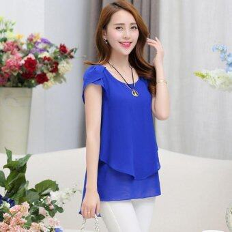 Hang-Qiao Women Loose Shirt O-Neck Chiffon Short Sleeve Blouse(Dark Blue) - intl