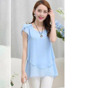 Hang-Qiao Women Loose Shirt O-Neck Chiffon Short Sleeve Blouse(Light Blue) - intl