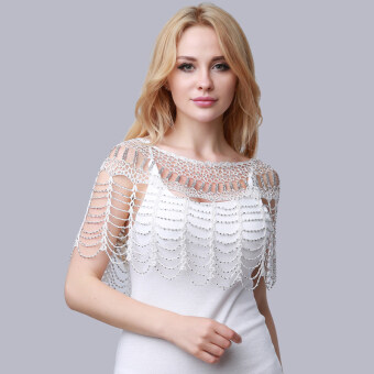 Harga Hanyu 1# Women Thin Ice Silk Sun Protection Clothing Blouse LaceOpenwork Crochet Small Shawl Cloaks White