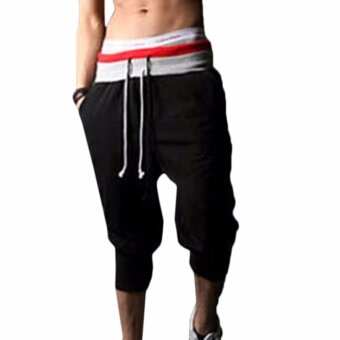 Harga Hequ Men Sports Pants Harem Training Dance Baggy Jogger CasualTrousers Shorts Slacks Black - intl