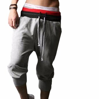 Harga Hequ Men Sports Pants Harem Training Dance Baggy Jogger CasualTrousers Shorts Slacks Grey - intl