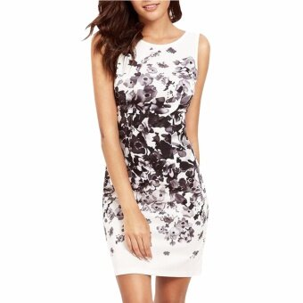 Hequ Womens Summer Trend Casual Sleeveless Flower Bodycon PartyShort Mini Dress White - intl