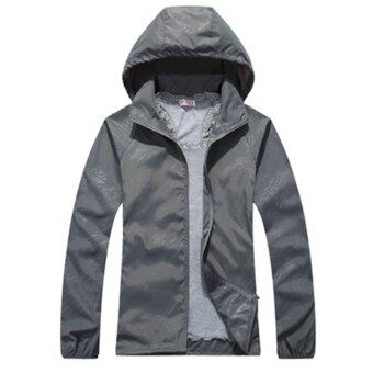 Harga Summer Style Women's Jackets Coats Outdoor Sunscreen Anti-UV Jacket Quick-drying Outdoors Thin Women Coat(Grey)