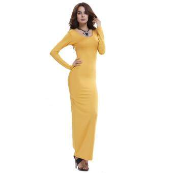 Harga European Style Fashion Pack Hip Dress Winter Hot Fashion Dress Wrapped Chest Nightclub Dress (Orange) - intl