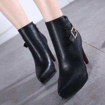 Harga Women's Pointed Toe Stiletto Ankle Boots Fashion Shoes with Buckle