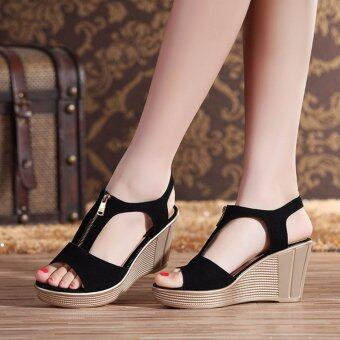 Harga Sandals Genuine Leather Lady Rome Style Shoes High Quality Wedges Non-slip Woman Sandals (Black) - intl