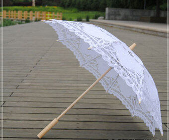 Harga niceEshop Handmade Embroidery Lace Parasol Umbrellas for Bridal Bridesmaid Wedding Decoration,White