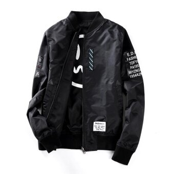 Harga Reversible Light Weight Flight Bomber Jacket (Black) - intl