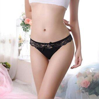 Harga QUECOO 10pcs/lots New net yarn comfortable sexy lingerie lace hollow ladies panties women's underwear - intl