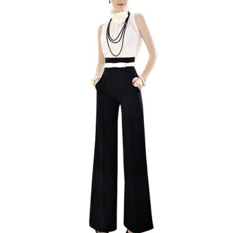 Harga Vintage Women Loose Trousers Zipper High Waist Pocket Front Flare Wide Leg OL Career Pants (Black)