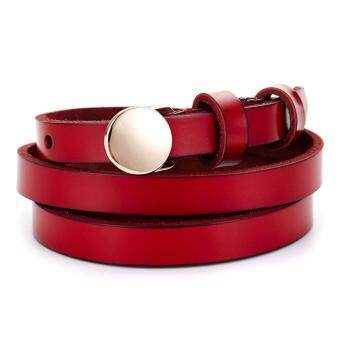 Harga Boshiho Women's Ms Lady Genuine Leather Apparel Belt Dress Belt Buckle Waist Belt(Red) - intl