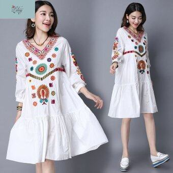 Harga 9968# Vintage Dress Folk Style Cotton and Linen Embroidered Dress Plus Size V-neck Loose Dress Autumn Dress Vestidos 2016 New - intl