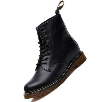 Harga Men Genuine Leather High-top Martin Boots Waterproof Ankle Boots (Black) - intl