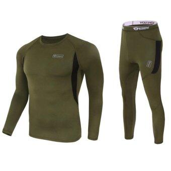 Harga Men's Ultra Soft Thermal Underwear Long Johns Set with Spandex Lined Army Green XL - intl