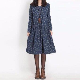 Harga Elegant Women Floral Long Dress 3/4 Sleeve Comfort Loose Dress Plus Size Floral Dress - intl