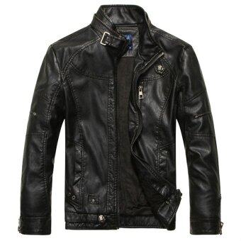 Harga EGC Fashion European style Men's Motorcycle leather jacket Stand colla(Black)