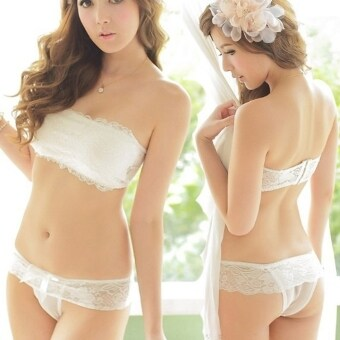 Harga Yika Women Lace Strapless Bustier Bra Tops With Pants (White)