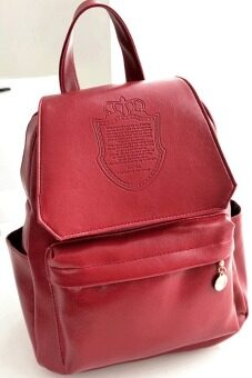 Harga Cyber Stylish European Style Lady Women Backpack Bag (Wine Red)