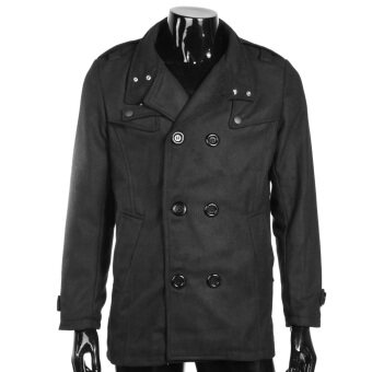 Harga Men Double-Breasted Fitted Winter Coat (Black)