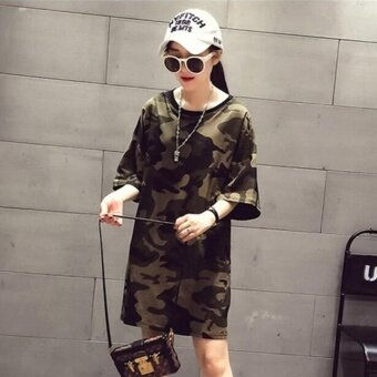 Harga Camouflage Womens Oversized T Shirt Dress Print Dress - intl