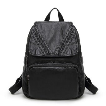 Harga Women Backpack Genuine Goat Leather Casual School Grils Bags Shoulder Bag for Lady - intl