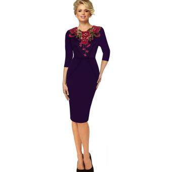Harga EOZY New Fashion Ladies Women Flower Printed V-Neck Short Sleeve Midi Dress Korean Style Female Slim Bodycon Dress Pencil Skirt Dress Lace Embroidered Dress (Purple) - intl