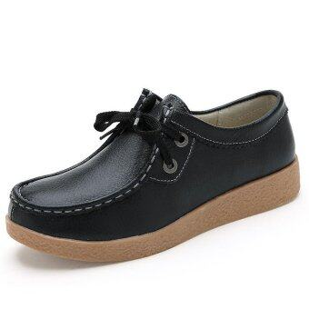 Harga Women's Leather Shoes Mother Flat Thick Bottom Leather Strap Lace-up Ladies Girls Shoes - intl