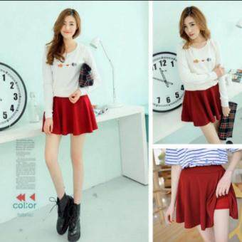 Harga Quilla กระโปรงสั้น/ ซับกางเกง / Colorful Pleated Skirt - Wine Color