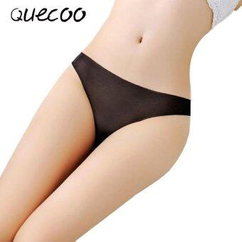 Harga QUECOO 10pcs/lots Female yarn no trace of a thin slim ladies underwear sexy pure low waist T pants women's underwear - intl
