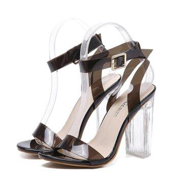 Harga Ai Home Summer Thick High-heeled Crystal Shoes Transparent Sandal35 (Black) - intl