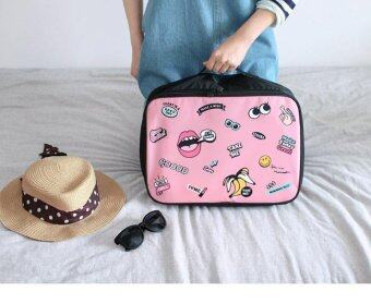 Harga Cute Cartoon Portable Trolley Travel Bag Boarding Suitcase Bag Luggage Travel Bags Clothes Storage Organizer - Pink S - intl