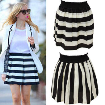 Harga Pretty Female Navy Striped A Shaped General Size Skirts(Size for Waist 58-100cm