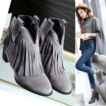 Harga Autumn and winter fringed boots scrub boot fashion high-heeled boots boots boots single Martin(grey) - intl