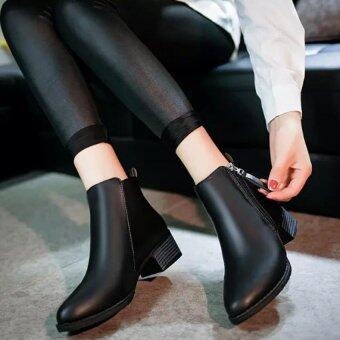 Harga Women Boots Martin Boots Pointed Thick With Low Side Zipper England Boots (Black) - intl