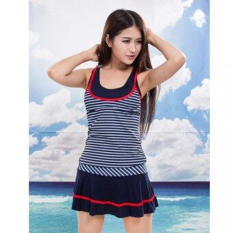 Harga Bathing suit Female striped swimsuit Navy maiden skirt fission second piece student hot spring bathing suit - intl