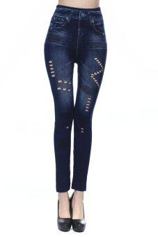 Harga Sexy Women's Jeans Skinny Lip Print Seamless Hollow Stretchy Slim Skinny Pants