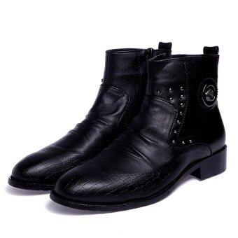 Harga Pointed men's fashion formal leather boots ankle boots business shoes
