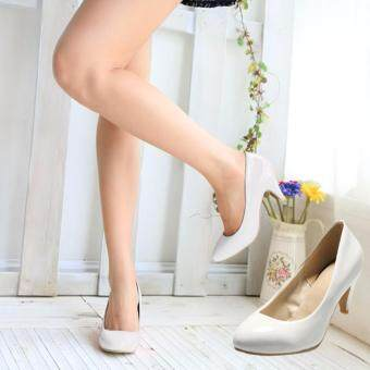 Harga White Fashion Women Casual Round Toe Medium Pumps Classic Other Shoes Heels