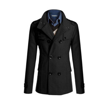 Harga 2017 New Fashion Trench Coat Men Classic Double Breasted Clothing Long British Style L(black) - intl