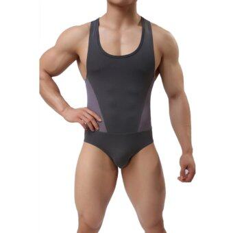 Harga Fang Fang One Piece Faux Leather Sexy Bodysuit Sports Shorts Man Body Shaper Jumpsuit 2017 - intl